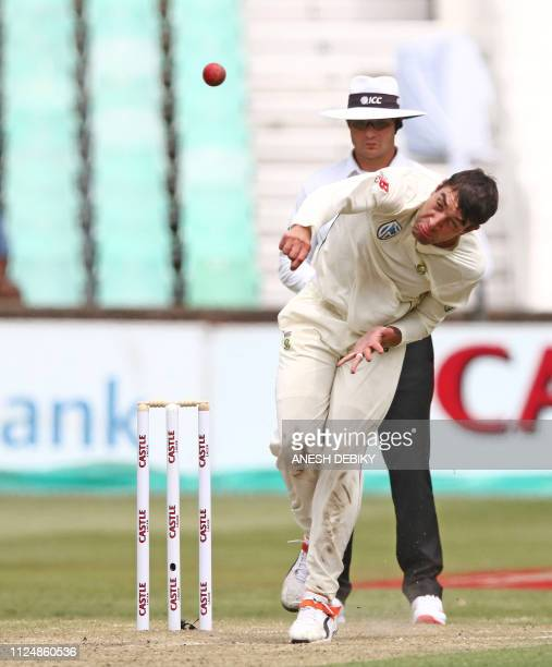 South Africa's Duanne Olivier bowls during day 2 of the first test match between South Africa and Sri Lanka held at the Kingsmead Stadium in Durban...