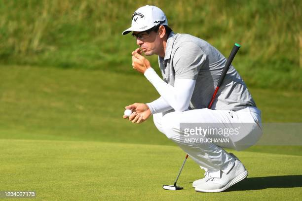 South Africa's Dylan Frittelli contemplates his put on the 6th green during his third round on day 3 of The 149th British Open Golf Championship at...