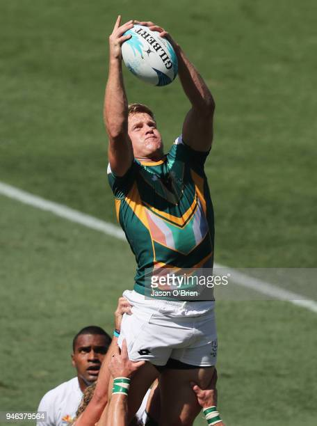 South Africa's Dylan Sage wins a lineout against Fiji during Rugby Sevens on day 11 of the Gold Coast 2018 Commonwealth Games at Robina Stadium on...