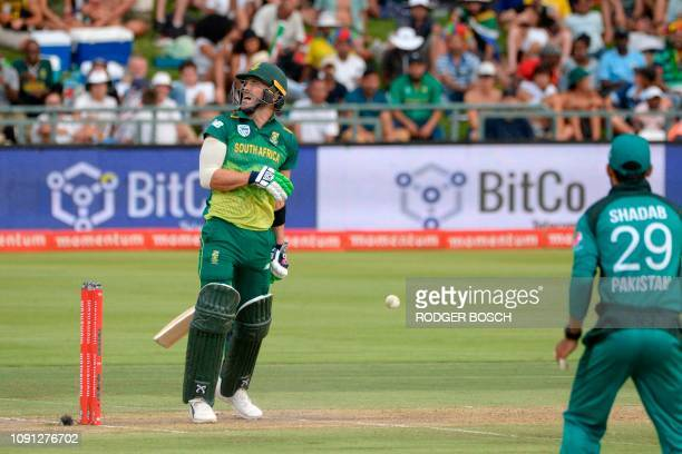 South Africa's Faf du Plessis is hit by the ball during the 5th One Day International cricket match between South Africa and Pakistan at Newlands...