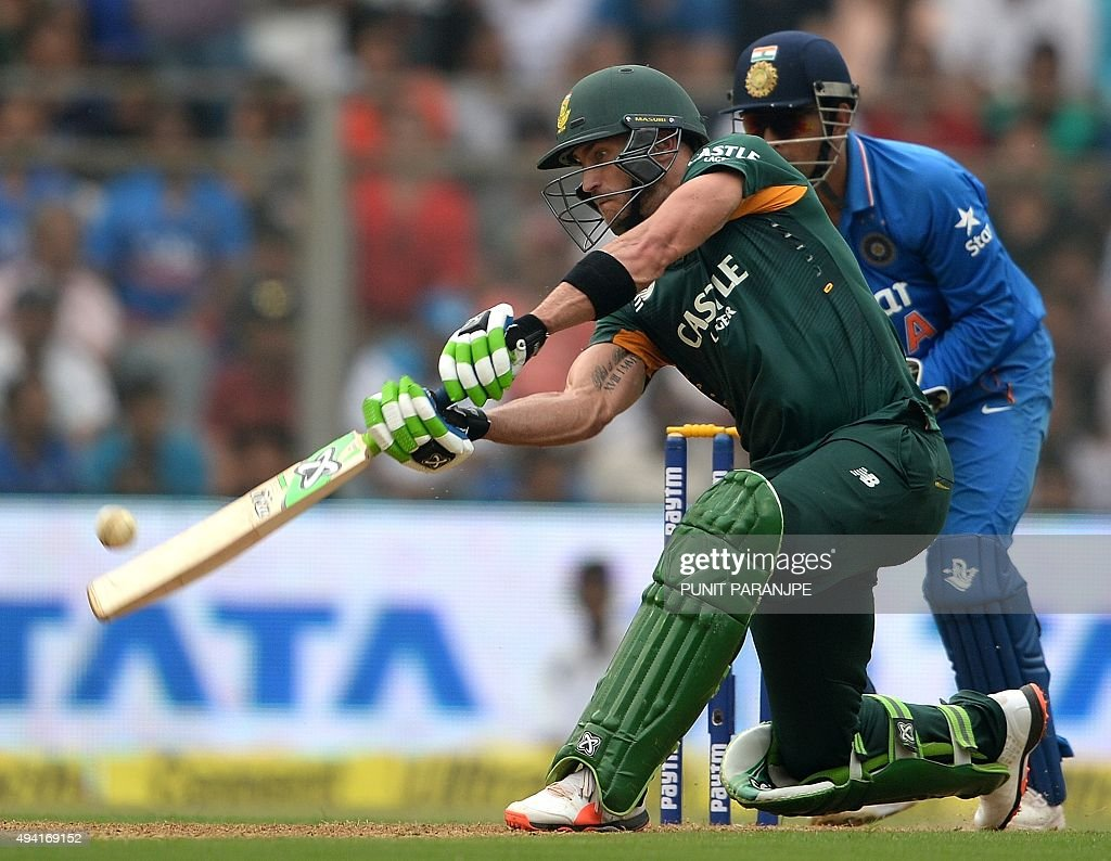 South Africa's Faf du Plessis plays a shot during the fifth one day international (ODI) cricket match between India and South Africa at The Wankhede Stadium in Mumbai on October 25, 2015.
