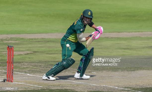South Africa's Faf du Plessis plays a shot during the first one day international cricket match between South Africa and Sri Lanka at the Wanderers...
