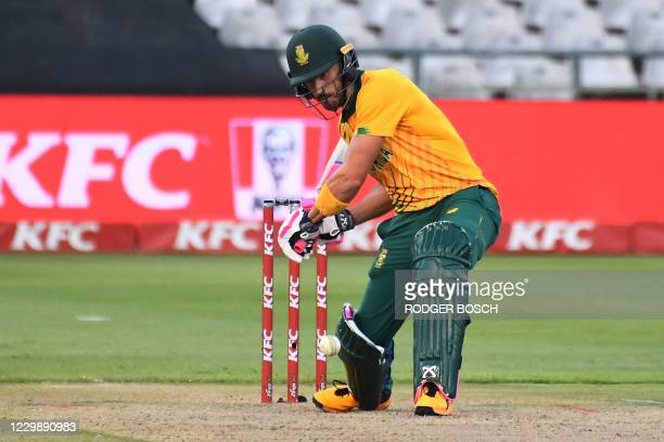 South Africa's Faf du Plessis plays a shot during the third T20 international cricket match between South Africa and England at Newlands stadium in...