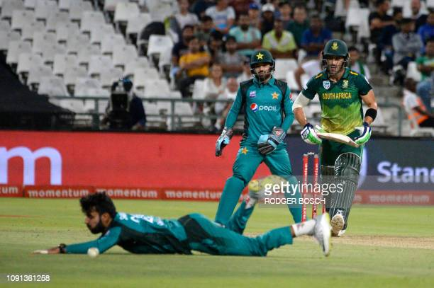 South Africa's Far du Plessis plays the ball past bowler Shadab Khan during their ODI cricket march against Pakistan at Newlands Stadium in Cape Town...