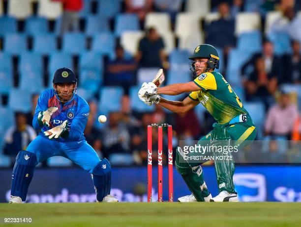 South Africa's Farhaan Behardien plays a shot during the second T20I cricket match between South Africa and India at Super Sport Park Stadium in...