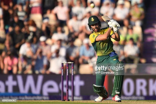 South Africa's Farhaan Behardien plays a shot during the T20 international cricket match between England and South Africa at The Ageas Bowl in...