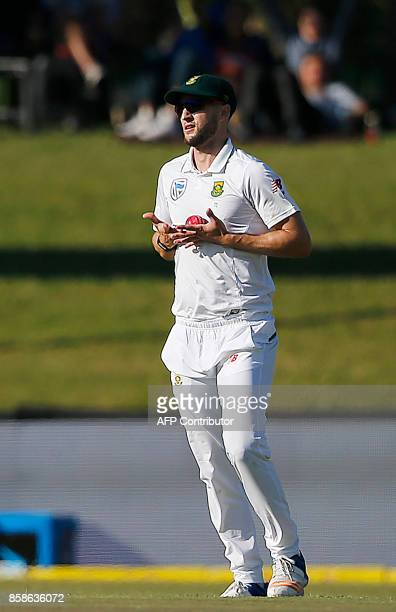 South Africa's fielder Wayne Parnell reacts after taking a catch to dismiss Bangladesh batsman Sabbir Rahman during the second day of the second Test...
