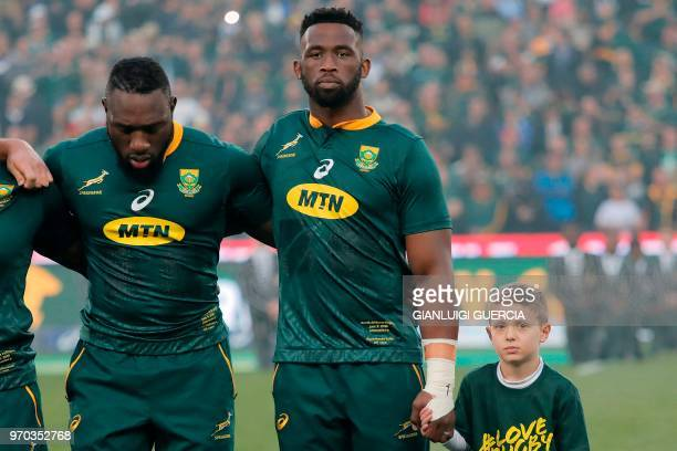 South Africa's flanker and captain Siya Kolisi stands for the national anthem during the first rugby union Test match between SouthAfrica and England...