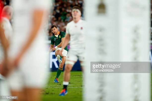 South Africa's fly-half Handre Pollard scores a penalty during the Japan 2019 Rugby World Cup final match between England and South Africa at the...