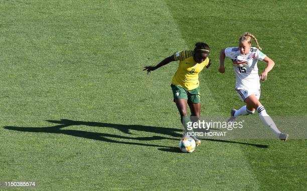 TOPSHOT South Africa's forward Ode Fulutudilu vies for the ball with Germany's defender Giulia Gwinn during the France 2019 Women's World Cup Group B...