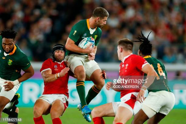 South Africa's full back Willie Le Roux catches the ball during the Japan 2019 Rugby World Cup semifinal match between Wales and South Africa at the...