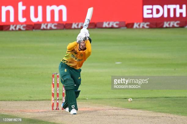 South Africa's George Linde reacts after being bowled by England's Tom Curran during the first T20 international cricket match between South Africa...
