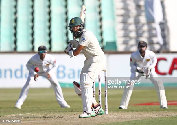 South Africa's Hashim Amla bats during day 2 of the first test match between South Africa and Sri Lanka held at the Kingsmead Stadium in Durban on...
