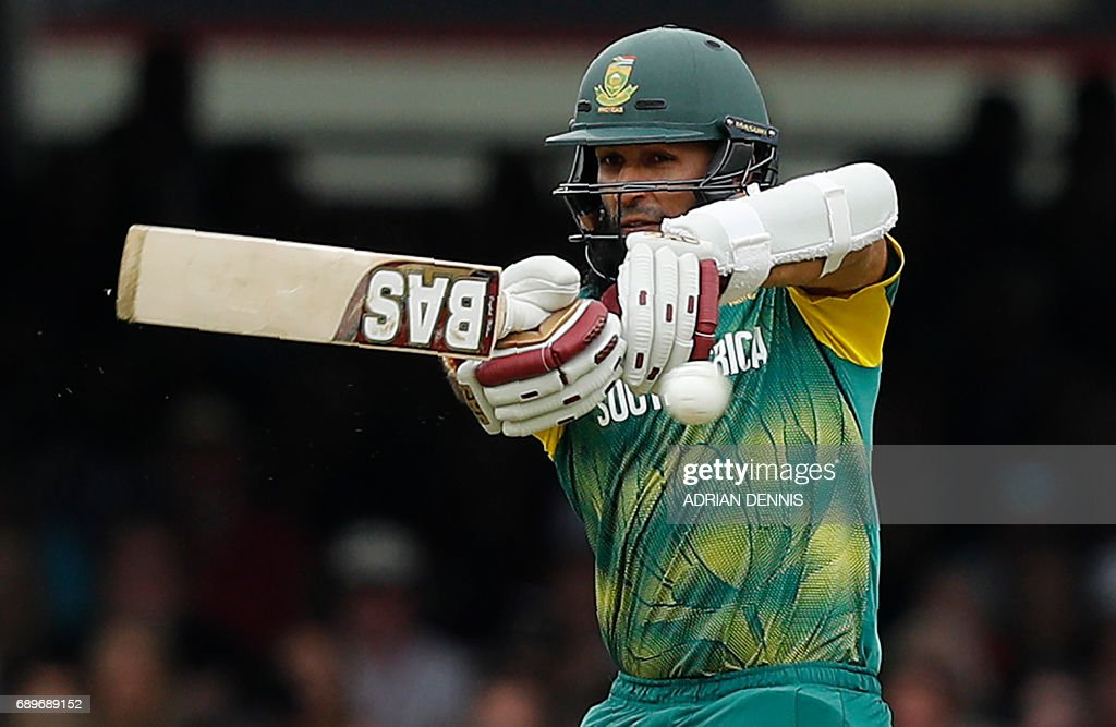 South Africa's Hashim Amla plays a shot during the third One-Day International (ODI) cricket match between England and South Africa at Lord's Cricket Ground in London on May 29, 2017. / AFP PHOTO / Adrian DENNIS