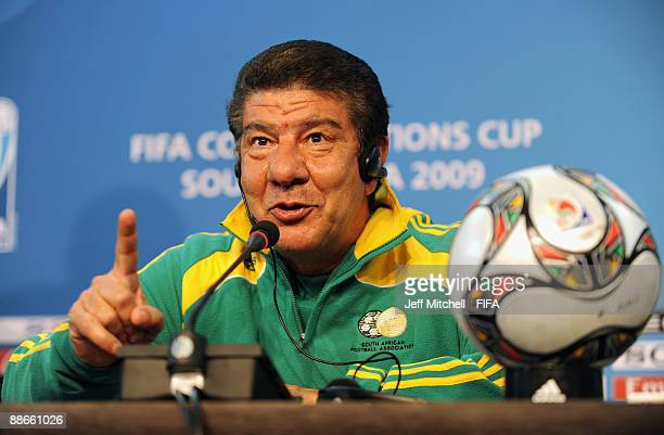 South Africa's head coach Brazilian Joel Santana talks to the media during a press conference at Ellis Park Stadium on June 24, 2009 in Johannesburg,...