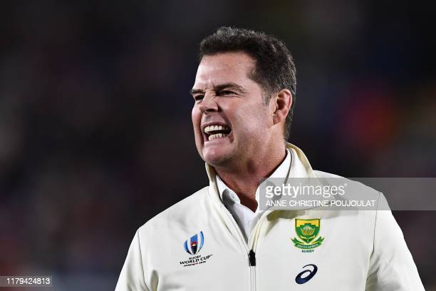 South Africa's head coach Rassie Erasmus reacts before the Japan 2019 Rugby World Cup final match between England and South Africa at the...