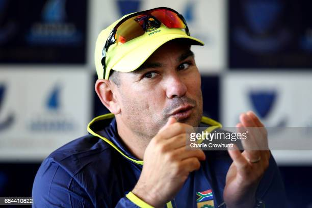 South Africa's head coach Russell Domingo chats to the press during the South Africa Arrival Press Conference at The 1st Central County Ground on May...
