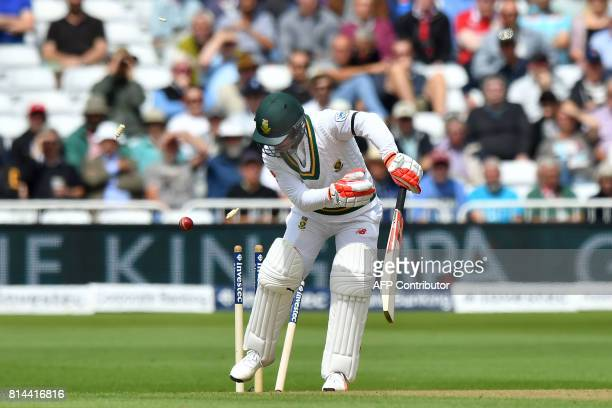 South Africa's Heino Kuhn is bowled out by England's Stuart Broad for 34 runs during the first day of the second Test match between England and South...