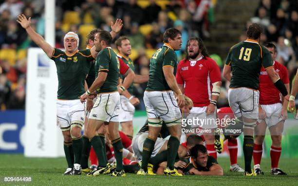 South Africa's Heinrich Brussow celebrates at the final whistle