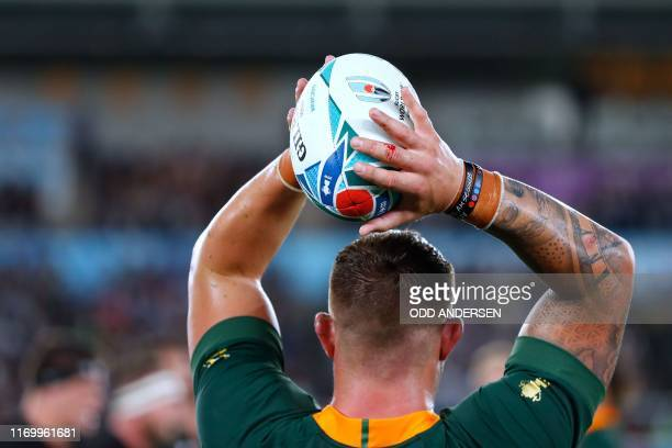 South Africa's hooker Malcolm Marx looks to throw the ball during the Japan 2019 Rugby World Cup Pool B match between New Zealand and South Africa at...