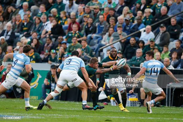 South Africa's hooker Malcolm Marx reaches for the ball during The Rugby Championship rugby union match between South Africa and Argentina at Johnson...
