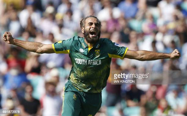 TOPSHOT South Africas Imran Tahir celebrates taking the wicket of Sri Lankas Chamara Kapugedera for a duck during the ICC Champions Trophy match...