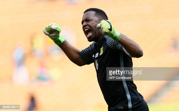 South Africa's Itumeleng Khune celebrates his team's goal against Burkina Faso during the World Cup 2018 qualifier football match at the city stadium...