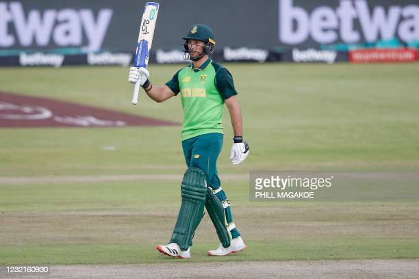 South Africa's Janneman Malan celebrates after scoring a half-century during the third one-day international cricket match between South Africa and...