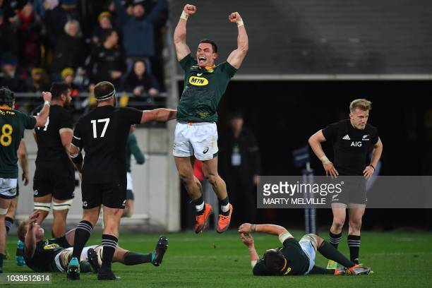 TOPSHOT South Africa's Jesse Kriel celebrates victory during the Rugby Championship match between the New Zealand All Blacks and South Africa at...
