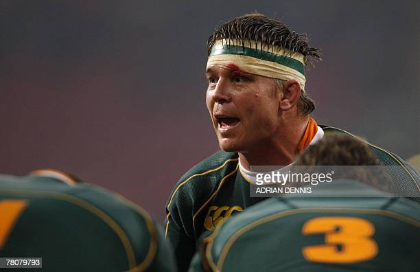 South Africa's John Smit rallies his teammates against Wales during the Prince William Cup an international friendly match at the Millennium Stadium...