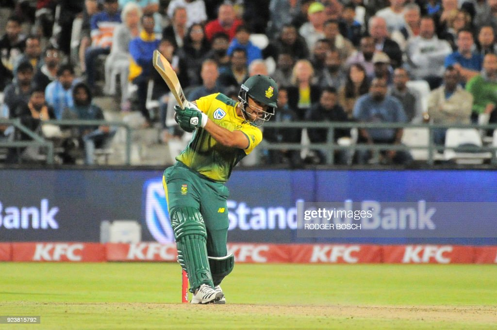 South Africa's J.P. Duminy hits a ball during the T20 cricket match against India vs South Africa, at Newlands Stadium, on February 24, 2018, in Cape Town. /