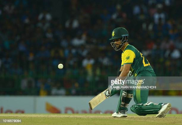 South Africa's JP Duminy plays a shot during the international Twenty20 cricket match between Sri Lanka and South Africa at the RPeremadasa Stadium...