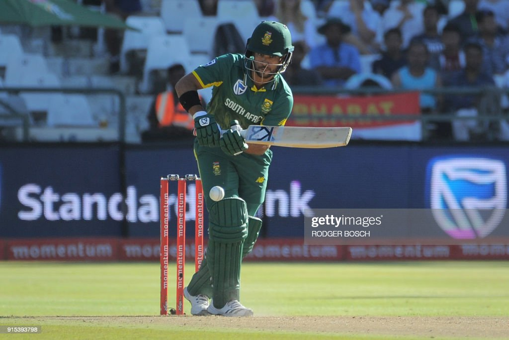 South Africa's JP Duminy plays a shot during the One Day International (ODI) cricket match between India and South Africa at Newlands stadium on February 7, 2018 in Cape Town. /