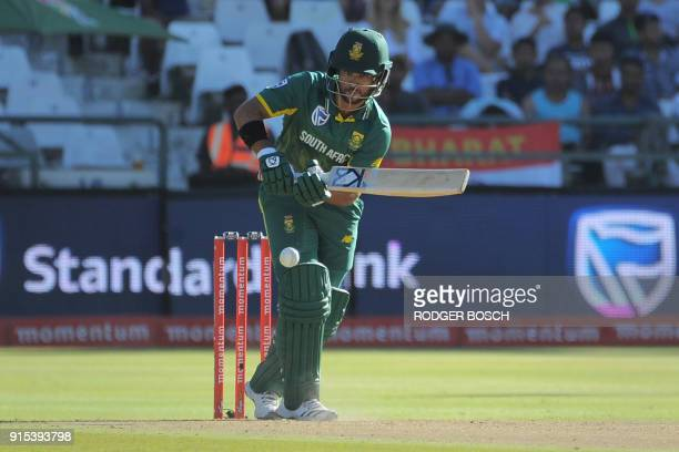 South Africa's JP Duminy plays a shot during the One Day International cricket match between India and South Africa at Newlands stadium on February...