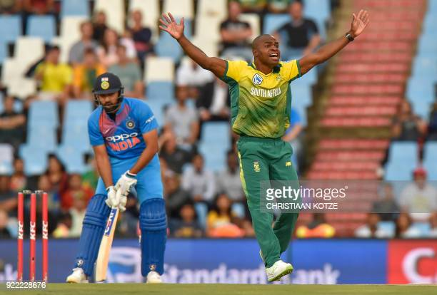 South Africa's Junior Dala celebrates after a leg before wicket decision to dismiss India's Rohit Sharma during the second T20I cricket match between...