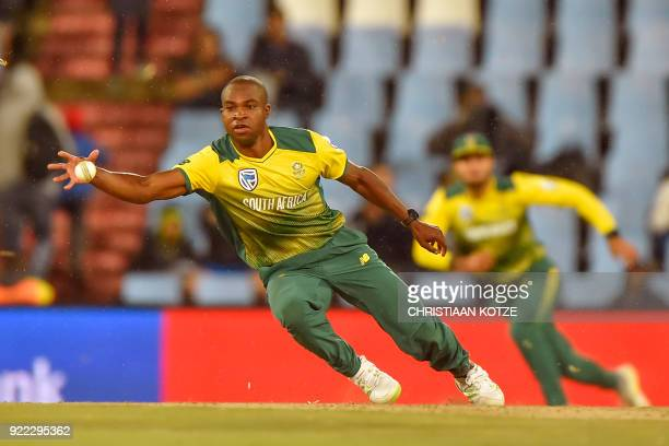 TOPSHOT South Africa's Junior Dala fields a ball during the second T20I cricket match between South Africa and India at Super Sport Park Stadium in...