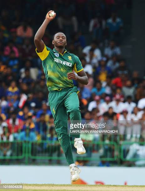 South Africa's Kagiso Rabada attempts to field a ball during the fifth and final one day international cricket match between Sri Lanka and South...