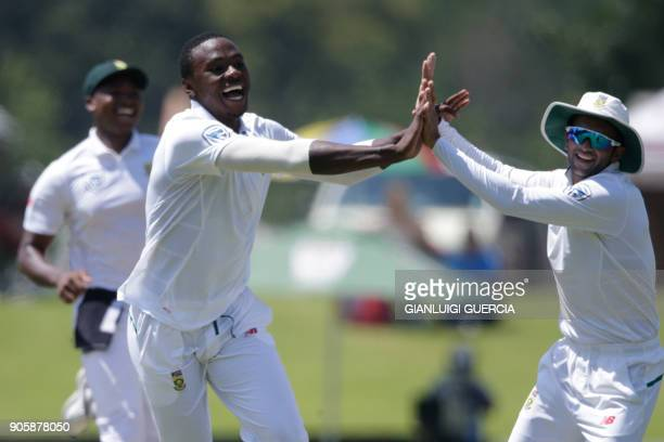 South Africa's Kagiso Rabada celebrates the dismissal of India's Parthiv Patel during the fifth day of the second Test cricket match between South...