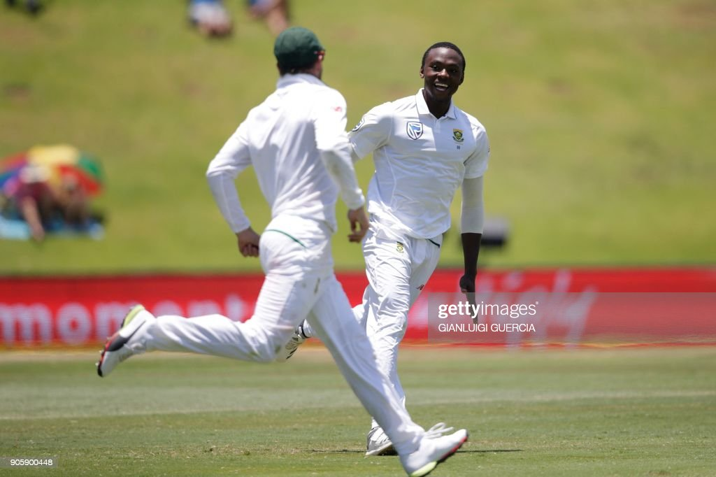 South Africa's Kagiso Rabada celebrates the dismissal of India's Rohit Sharma (not in picture) during the fifth day of the second Test cricket match between South Africa and India at Supersport cricket ground on January 17, 2018 in Centurion, South Africa. /