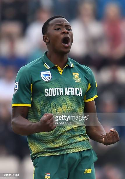 South Africa's Kagiso Rabada celebrates the wicket of England captain Eoin Morgan during the second OneDay International between England and South...
