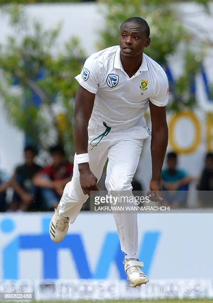 South Africa's Kagiso Rabada delivers the ball during the first day of the opening Test match between Sri Lanka and South Africa at the Galle...