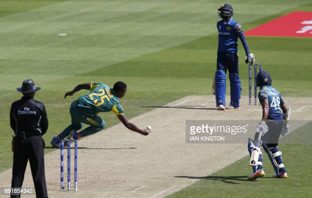 South Africas Kagiso Rabada drops a catch and fails to dismiss Sri Lankas Upul Tharanga whilst bowling during the ICC Champions Trophy match between...