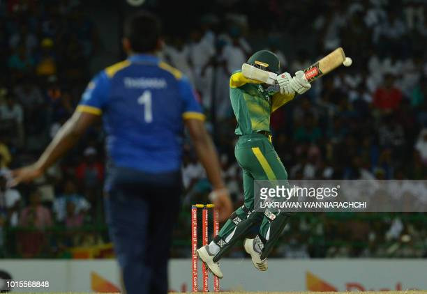 South Africa's Kagiso Rabada plays a shot during the fifth and final one day international cricket match between Sri Lanka and South Africa at the...