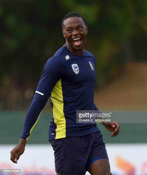 South Africa's Kagiso Rabada takes part in a training session at the Rangiri Dambulla International Cricket Stadium in Dambulla on July 31 2018 South...