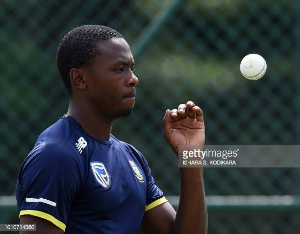 South Africa's Kagiso Rabada takes part in a training session at the Pallekele International Cricket Stadium in Pallekele on August 4 2018 South...