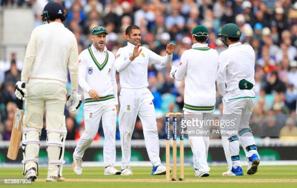 South Africa's Keshav Maharaj celebrates after bowling out England's Toby RolandJones during day two of the 3rd Investec Test match at the Kia Oval...