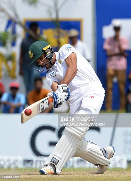 South Africa's Keshav Maharaj plays a shot during the third day of the opening Test match between Sri Lanka and South Africa at the Galle...