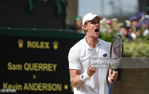 South Africa's Kevin Anderson celebrates after winning a point against US player Sam Querrey during their men's singles fourth round match on the...