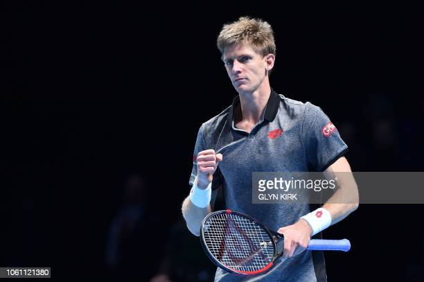 South Africa's Kevin Anderson celebrates beating Japan's Kei Nishikori during their men's singles roundrobin match on day three of the ATP World Tour...