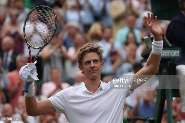 TOPSHOT South Africa's Kevin Anderson reacts after winning against US player John Isner during the final set tiebreak of their men's singles...